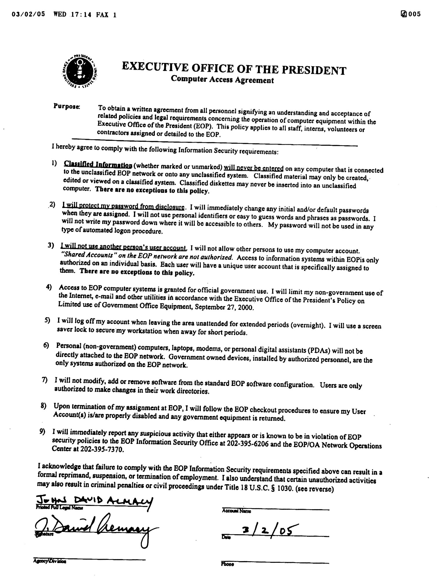 EOP Computer Access Agreement March 2005