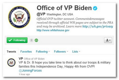 Vice President Biden posts first tweet on July 4, 2011